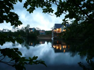 Beautiful lakefront cottage-style homes at night near South Haven Michigan