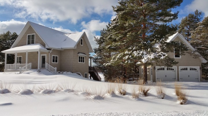 snow covered lakefront cottage south haven michigan